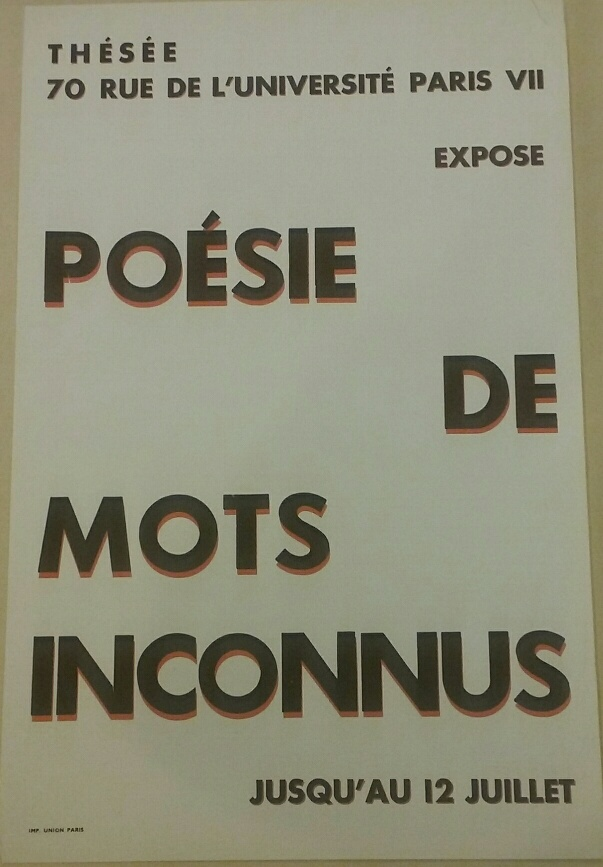 Gallery poster for 1949 exhibition of Iliazd's anthology Poesie de mots inconnu